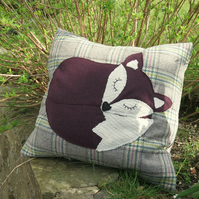A snoozy fox on tartan wool. Complete with feather pad. Fox cushion.