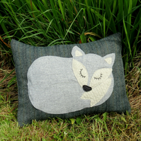 Fox Cushion..  A snoozy fox  on tweed wool.  With a feather pad. Fox Pillow.