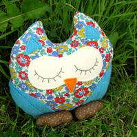 Prudence, a snoozy owl doorstop.  Owl bookend.