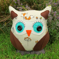Willow, a 35cm tall owl cushion.  Owl pillow.