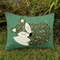 A snoozy fox on woollen tweed.  Fox cushion.  With feather pad.