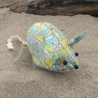 A field mouse pin cushion made from Liberty Lawn.