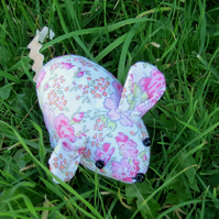 A floral field mouse pin cushion.  Made from Liberty Lawn.
