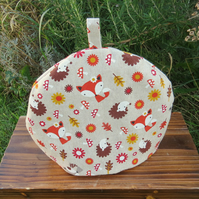 A whimsical woodland tea cosy, size medium.  To fit a 3 - 4 cup teapot.