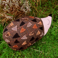Hector, a tactile tweed hedgehog cushion.  47cm in length.