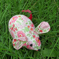 A liberty lawn pin cushion.  Field mouse.