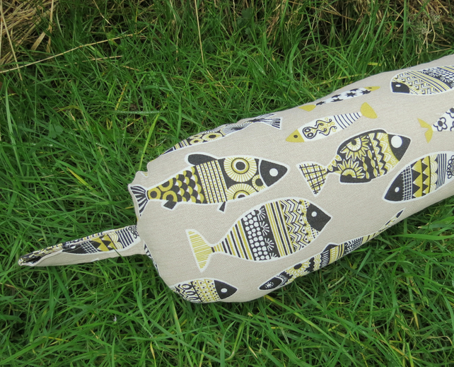 Yellow fish.  A linen look cotton draught excluder.  36 inches in length. 91.5cm