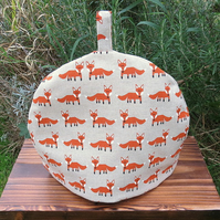 Foxes.  A whimsical tea cosy, size medium.  To fit a 3 - 4 cup teapot.