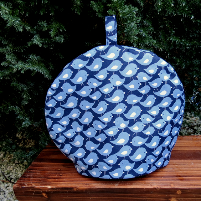 Time for tea!  A blue birds tea cosy, size medium.  To fit a 3 - 4 cup teapot.