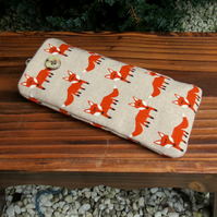 Foxes.  A padded glasses sleeve.  Glasses case.