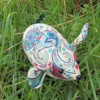 Paisley.  A field mouse pin cushion made from Liberty Lawn.