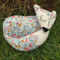 Little fox.  A snoozy fox cushion, made from Liberty Lawn.  28cm in length.