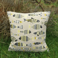Yellow fish.  A 37cm x 37cm cushion, complete with feather pad.