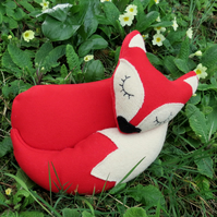 Little Red Fox.  A snoozy fox doorstop.  Fox bookend.