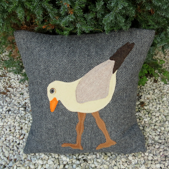 Sea bird Cushion. Wading gull.. Complete with feather pad. Nautical cushion.