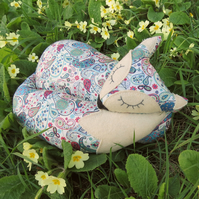 Paisley Fox.  A snoozy fox cushion.  Made from Liberty Lawn.