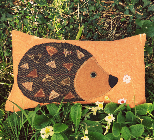 Hedgehog Cushion.  A tactile wool cushion, complete with feather pad.