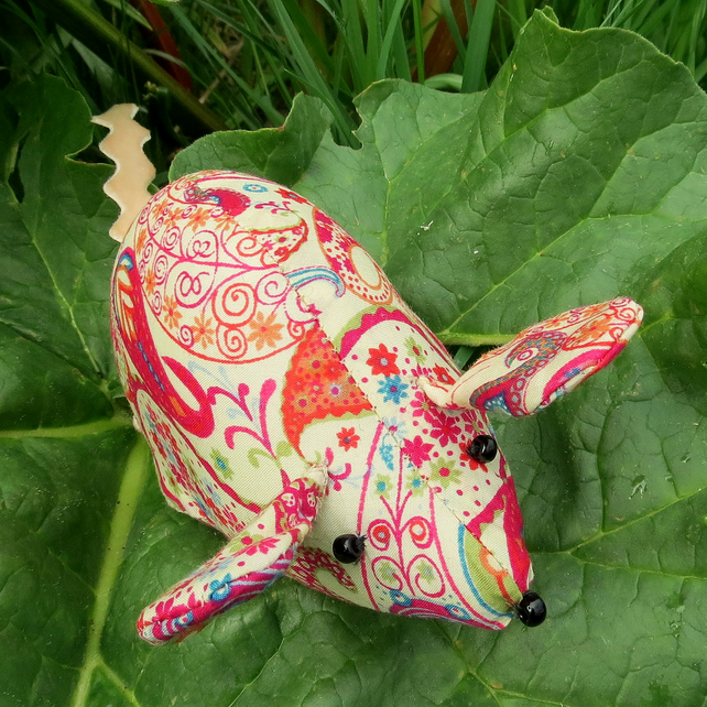 Paisley.  A field mouse pin cushion, made from Liberty Lawn.