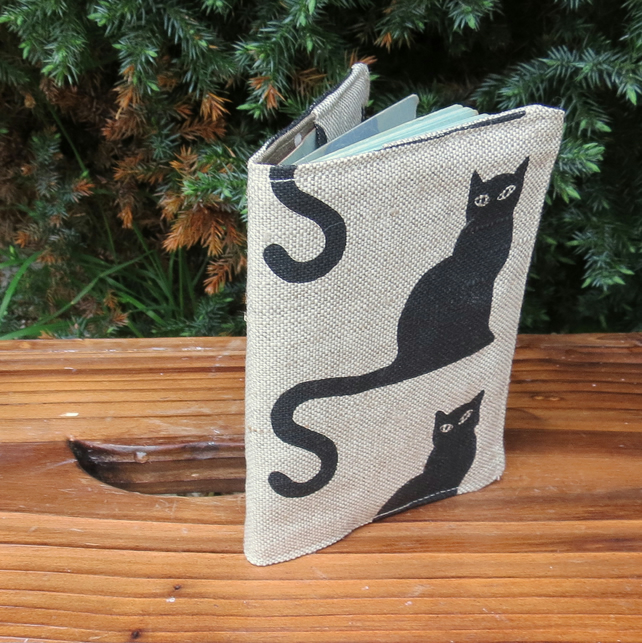 Black Cat.  A passport sleeve with a whimsical cats design.  Passport cover.