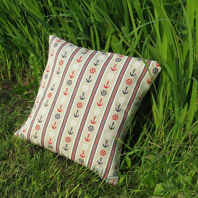 Anchors.  A nautical cushion, complete with feather pad.