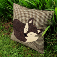 A large fox cushion. Complete with feather pad.  47cm x 47cm.  Fox pillow.