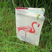 Flamingos.  A passport sleeve with a pink flamingo design.  Passport cover.