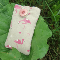 Flamingos.  A mobile phone sleeve.  Made from a tropical cotton canvas.
