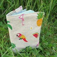 Parrots.  A tropical passport sleeve.  Passport cover.