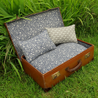 A quirky pet bed, made from a vintage 1940s suitcase. Cat bed. Small dog bed.