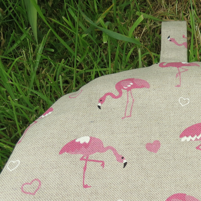 A coffee cosy, made to fit a 6 cup cafetiere. Flamingos design. Cafetiere cosy.