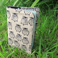 Owls.  A passport sleeve with a whimsical owls design.