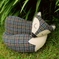 Tweed fox.  A snoozy fox doorstop, made from vintage Harris Tweed.