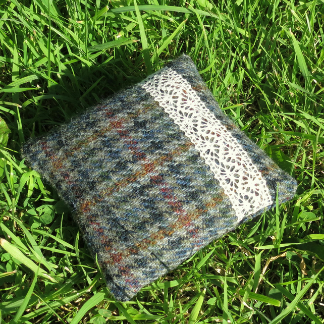 A pin cushion made from a vintage Harris tweed wool.