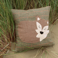 Snoozy fox on tactile wool.  A fox cushion complete with feather pad.
