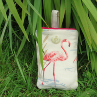 Pink flamingo.  A padded gadget sleeve, suitable for an iphone or small gadget.