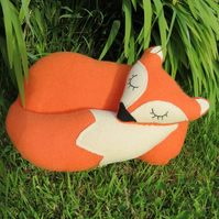 Orange Fox.  A snoozy fox cushion.  39cm in length.  (15.5 inches)