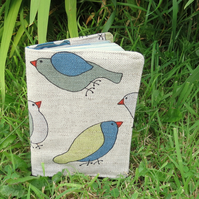 Birds.  A fabric passport sleeve with a whimsical bird design.  Passport cover.