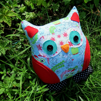 A festive owl cushion.  25cm tall.  Christmas.