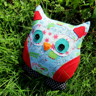 Sale!!!  A festive owl cushion.  25cm tall.  Christmas.
