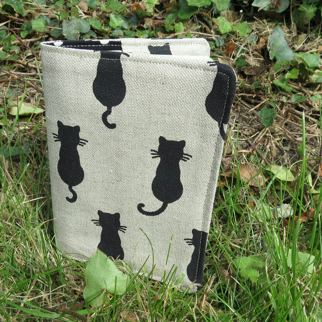 Black cat.  A passport sleeve with a whimsical cat design.  Passport cover.