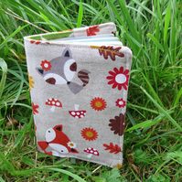 Fox and Raccoon.  A whimsical passport sleeve.  Passport cover.