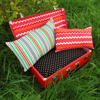 A quirky pet bed, made from a vintage 1960s suitcase.  Cat bed.  Small dog bed.