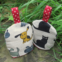 A pair of egg cosies.  Set of two cosies.  Kepping eggs cosy!