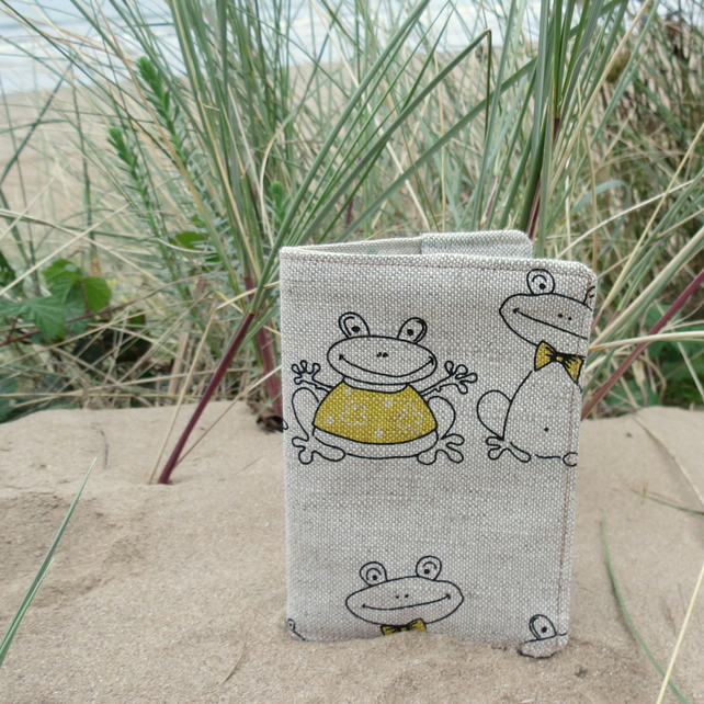 Frogs.  A passport sleeve with a whimsical frogs design.  Passport cover.