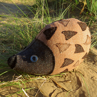 Sale!  A hedgehog doorstop made from tactile wool.  Hedgehog decor.