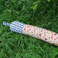 SALE!  A draught excluder with a whimsical woodland design.  Winter decor.