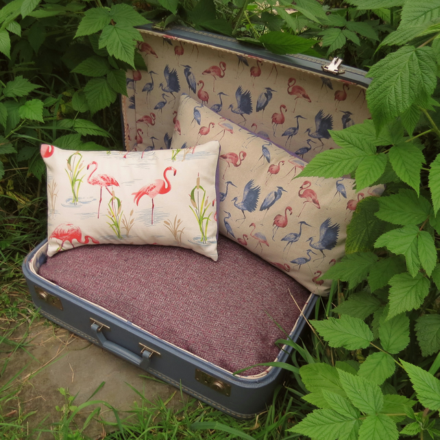 A quirky pet bed, made from a vintage 1970s suitcase.  cat bed.  Dog bed.