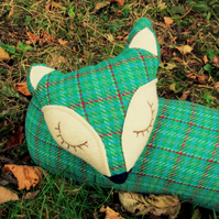 Long fox.  A snoozy fox draught excluder made from wool.  102cm in length.