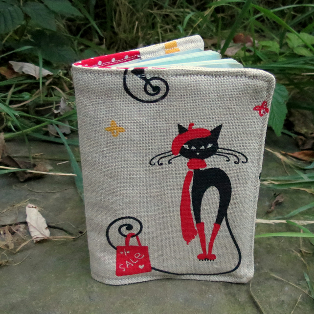 Crazy cats.  A whimsical passport sleeve with a cats design.  Passport cover.