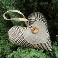 A tweed hanging heart.  Door Hanger.